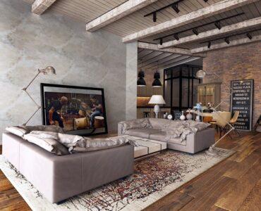 exposed-ceiling-beams-rustic-industrial-living-room